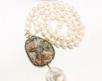 SALE Freshwater Pearls and Chunky Pendant