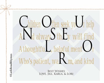 School Counselor Gifts Personalized Teacher Gift Coworker Gift Retirement Gifts Poem School Counselor Decor School Counselor Office 8x10