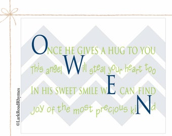 Personalized Baby Gifts Baby Name Gift New Baby Gift Name Art Nursery Baby Name Art Boy Nursery Prints Little Boy Room Decor Poem 8x10 Owen