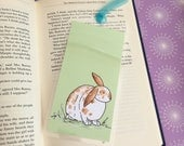 Cute Rabbit Handmade Bookmark, Bunny with Green Background, Laminated Bookmark, Blue Organza Ribbon, Bunny Booklover Gift