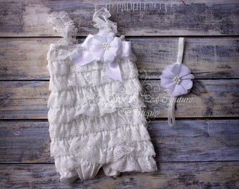 White Embelished Lace Romper & Headband Set- First Birthday Outfit- Petti Romper- Cake Smash Outfit- Newborn Petti Romper- Headband