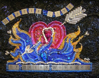 """Beaded Mosaic Art - """"Hearts Live By Being Wounded"""" - Shadowbox - Wall Art"""