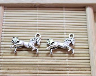20 antique silver 3D horse pendant charms