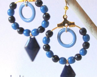 enamel, glass and metal, gold and blue earrings