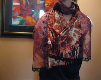 """scarf/shawl handmade lace and fabric - """"Fawn"""""""