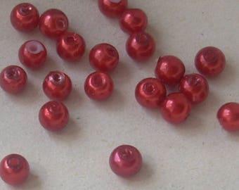20 Perles plastique nacrée ronde rouge 4mm