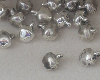 SILVER 10 8MM METAL JINGLE BELL CHARMS