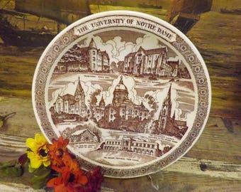 Notre Dame Souvenir Plate University of Notre Dame Plate