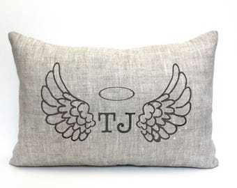 """remembrance pillow, remembrance gift, angel gift, angel pillow, bereavement gift, personalized, - """"Angel Wings"""""""