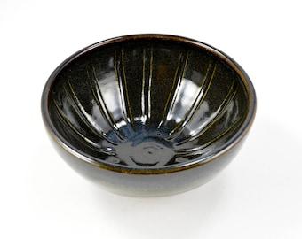 Shaving Bowl Lather Bowl Handmade Wheel Thrown Stoneware Clay Pottery Black