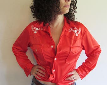 Giddy Up Urban Cowboy/ Vintage 70s Red Shiney Western Embroidered Shirt