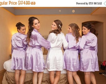 ON SALE Embroidered Bridesmaid Robes with Titles, Bridal Party Robes, Getting Ready Robes Wedding Robe and Title Package SET Of 6 Bridesmaid
