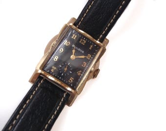 Rare Bulova Watch - 1940's -10k Rolled Gold - Scalloped Figural Bezel - Extended Lugs - Black Dial - Gold Numerals - Sub-Seconds Watch