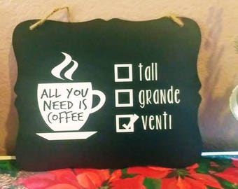 All you need is coffee sign