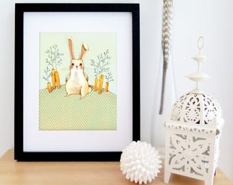 Illustrated BUNNY in the GARDEN poster | Children illustration | illustration art for framing | 8'' X 10''
