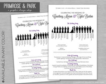 Silhouette Wedding Program Sample // PDF Instant Download