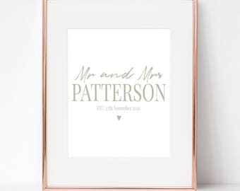 Mr & Mrs Personalised typography print wedding gift
