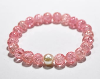 Darling pink crackle glass with glass pearl stackable stretch bracelet, gift for her, womens gift, pretty feminine design, one size fits all
