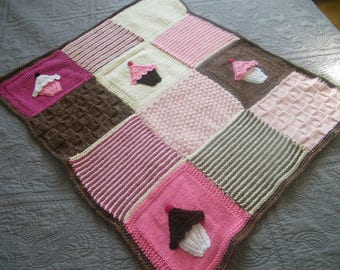 80cm X 60 cm wool baby blanket made by hand