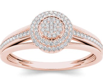 10Kt Rose Gold 0.20 Ct Diamond Halo Engagement Ring