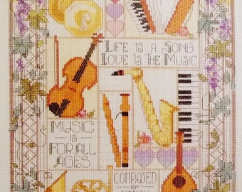 "Bucilla Cross Stitch Kit Celebration of Music 10"" x 16"" Can Be Personalized Composed By"