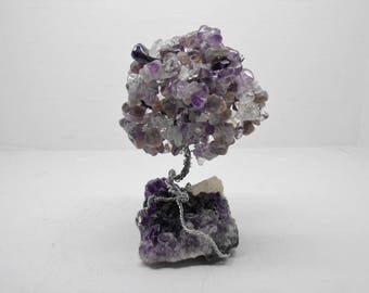 Amethyst and quartz crystal tree fairy garden or sculpture