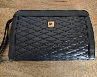 Pierre Balmain Black Leather Quilted Clutch