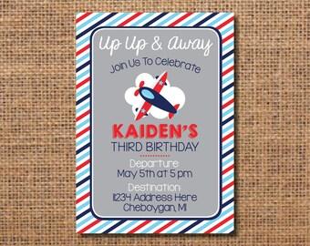 Airplane Birthday Invitation, Airplane Party Invite, Boy Birthday Invitation, Up Up and Away Invitation, Airplane Invitation, First Birthday