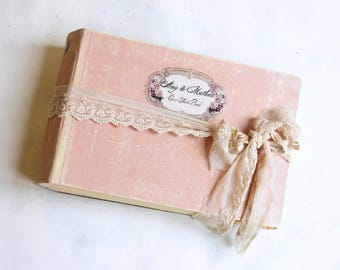 """Old fashioned wedding photo album, blush pink wedding guest book, Traditional vintage style photo album for prints, A4 8x10"""" Made to Order"""
