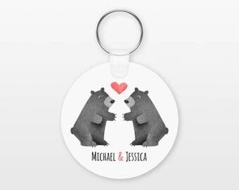 Black Bear Keychain, Couple Keychain Personalized Keychain, Girlfriend Keychain Boyfriend Keychain, Animal Keychain Couple Key Chain Keyring