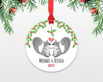 Personalized Christmas Ornament, Squirrel Couple Wedding Christmas Ornament, Engagement Ornament, Animal Ornament Christmas Decoration