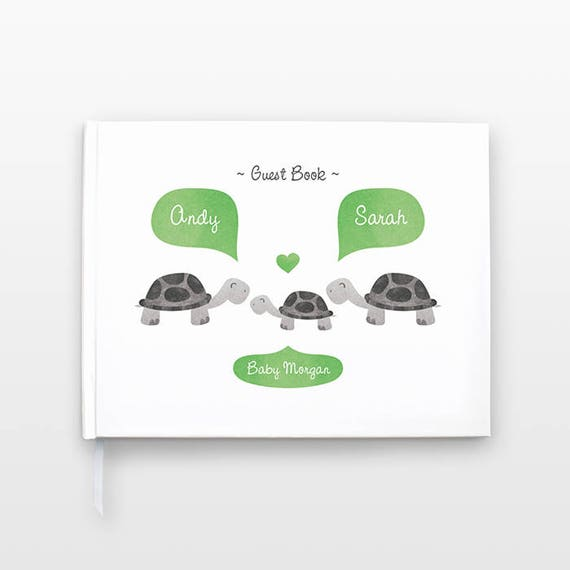 TURTLE Baby Shower Guest Book, Personalized Baby Book, Animal Baby Guestbook, New Baby Gift, Baby Journal, Baby Notebook, Baby Guest Book