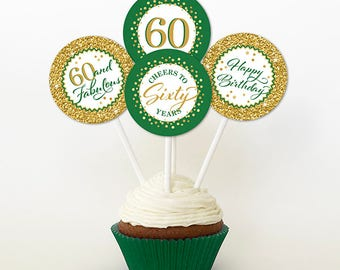 60th Birthday Cupcake Toppers, Gold Glitter and Green, Favor Tags, PRINTABLE, 2 Inch