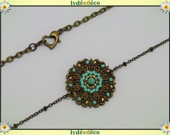 Vintage flower headband print and gold pastel turquoise green glass beads bronze