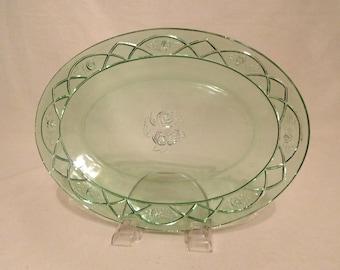 "Federal Glass SHARON/CABBAGE ROSE Green Oval Serving Platter 12 1/2"""