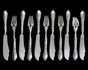 Art Nouveau 800 Silver Handled Knives Forks Fish Set