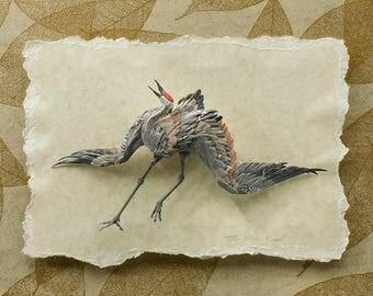 Rhythms - Giclee Fine Art Print of Sandhill Crane Paper Sculpture