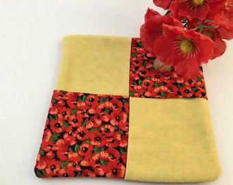 Pot Holder, Trivet, Mug Rug, Coaster, Table Topper, Gold and Orange, Poppies