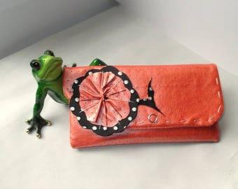 "Wallet ""peas""flower, faux leather, salmon pink orange"