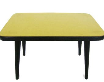 Mid Century Modern plant stand, small coffee table, yellow formica from the 60s