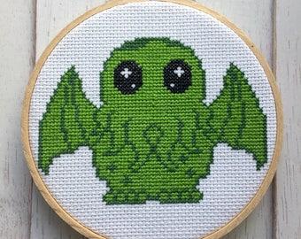 Cute Cthulhu Green Monster Cross Stitch Pattern DIGITAL DOWNLOAD Intermediate