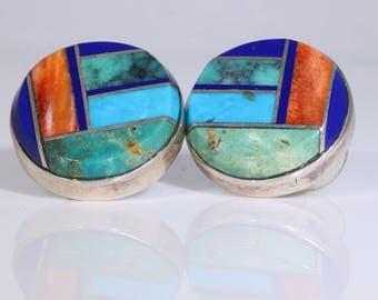 Navajo Sterling Silver Multi-Gemstone Mosaic Round Posts