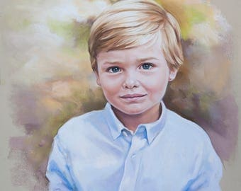 Pastel portrait, Portrait painting of a boy, Children portraits and Pastel portraits, custom portrait, Commissioned Pastel portrait.