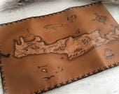 Crete Map, Leather Tobacco Pouch, Creta island, Pipe Pouch, Pyrography Leather, Portatabacco, Greece map case, Tabakbeutel, Handmade