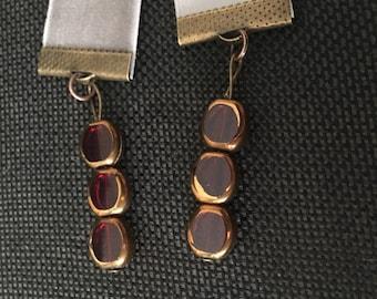 Gray Velvet Ribbon and Red Glass Bead Bookmark