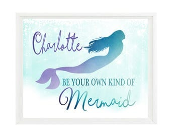 Attrayant Mermaid Wall Art, Be Your Own Kind Of Mermaid, Personalized Name Print, Girl