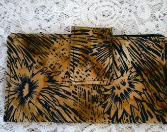Brown & Black Women's Fabric Wallet Purse Organizer Magnetic Closure Cash Wallet