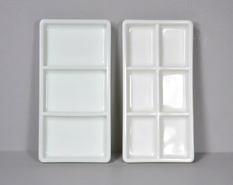 2 White Milk Glass Dental Instrument Trays, No 17 & No 20, 3 and 6 Sections, Mid Century Dentist Equipment, American Cabinet, Two Rivers Wis