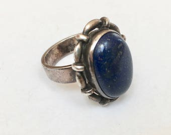 vintage sterling and lapis ring, size 7