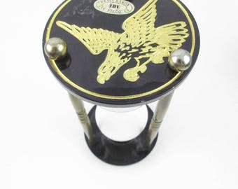 Hour Glass Timer - Brass, Black and Glass - Short - Brass Arms - Eagle on Top